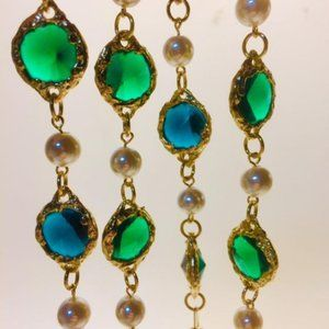 Jewelry - Green Gold Plated Chiclet Faux Pearl Sautoir - NOS